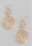 Leaf Disc Drop Earrings