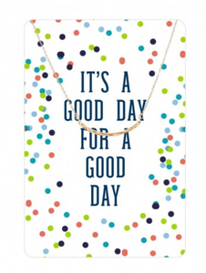 Good Day Curved Gold Bar Color Me Happy Necklace