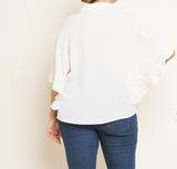 Easy Breezy Ivory Ruffle Top
