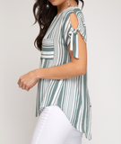 Coastal Cold Shoulder Striped Top