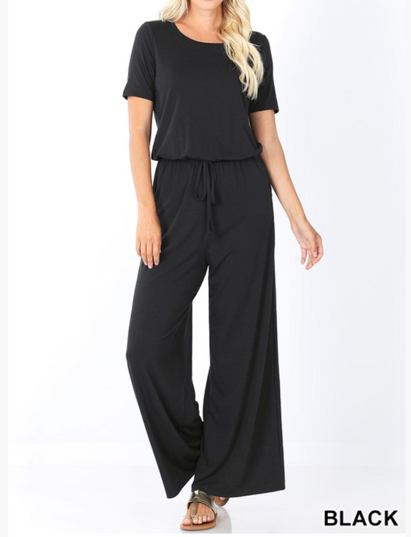 On The Move Black Jumpsuit