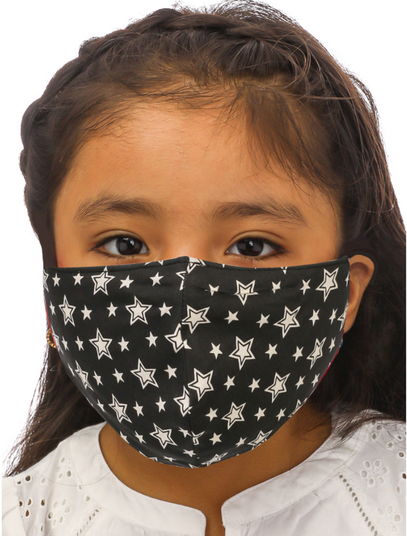 Kids Black Star Face Mask