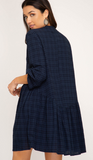 Autumn Is Calling Blue Plaid Babydoll Dress