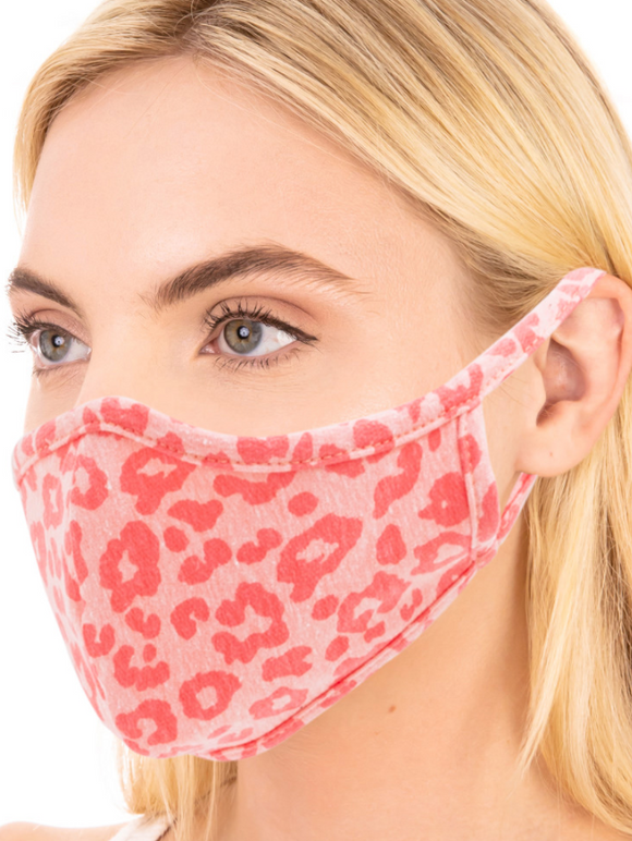 Double Layered Pink Leopard Print Face Mask