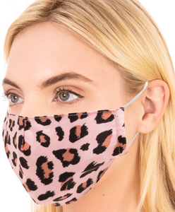Lightweight Double Layered Cotton Pink Leopard Print Face Mask