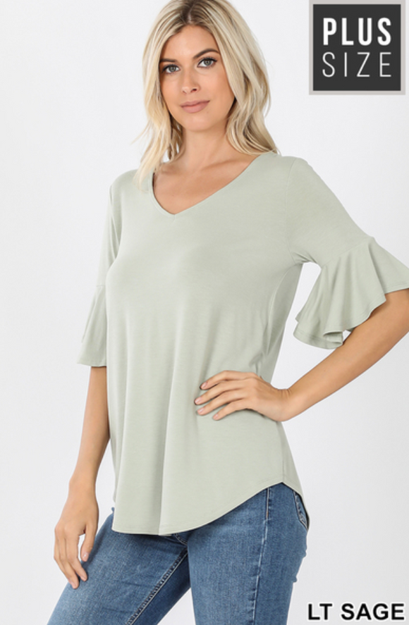 Sage Waterfall Sleeve Top