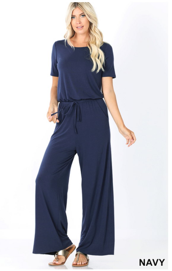 On The Move Navy Jumpsuit
