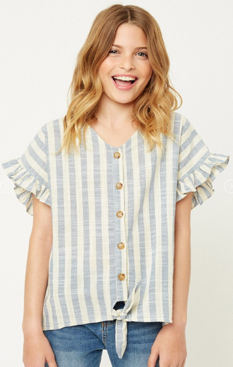 Girl's Linen Button Up Top