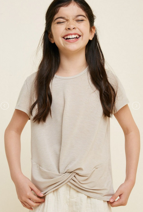Girl's Taupe Twist Hem Top