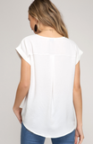 Off White Drop Shoulder Women Top