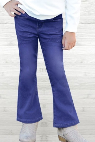 Girl's Blueberry Wash Denim Flare