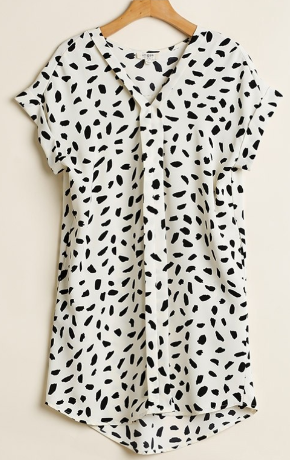 Off White Dalmatian Print Dress Umgee