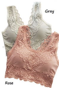 Rose Scalloped Lace Bralette