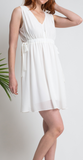 White Chiffon Elastic Waist Tie Dress