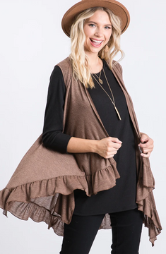 Brown Side Pocket Ruffled Vest