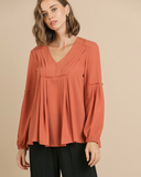 Puff Sleeve V-Neck Top