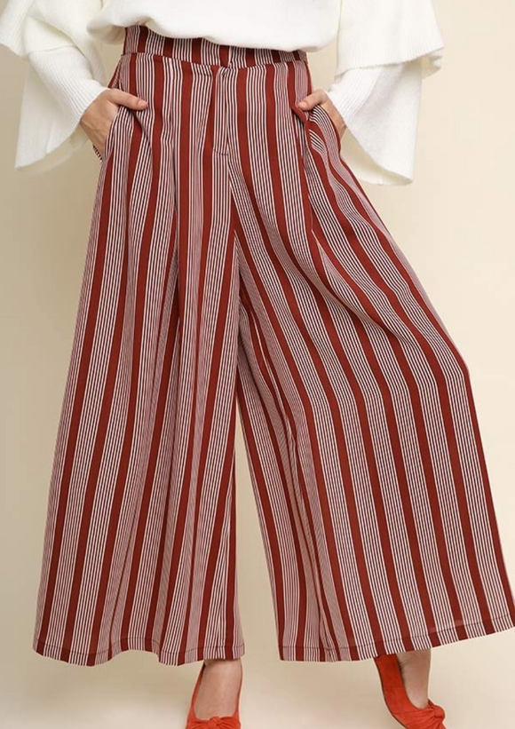Burgundy Striped Wide Leg Trousers