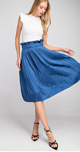By Midnight Navy Pleated Skirt