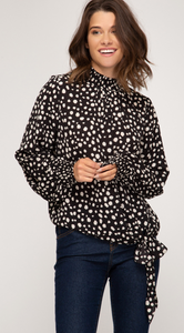 Spotted Smocked Neck Top