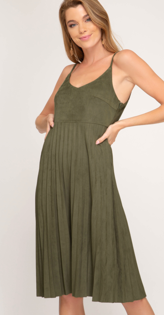 Olive Faux Suede Cami Dress