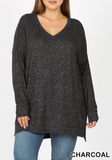 Plus Charcoal Brushed V-Neck Sweater