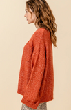 Rusty Red Drop Shoulder Pocket Sweater