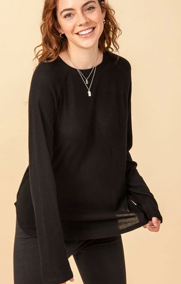 Rounded Neck Raglan Long Sleeve Tee