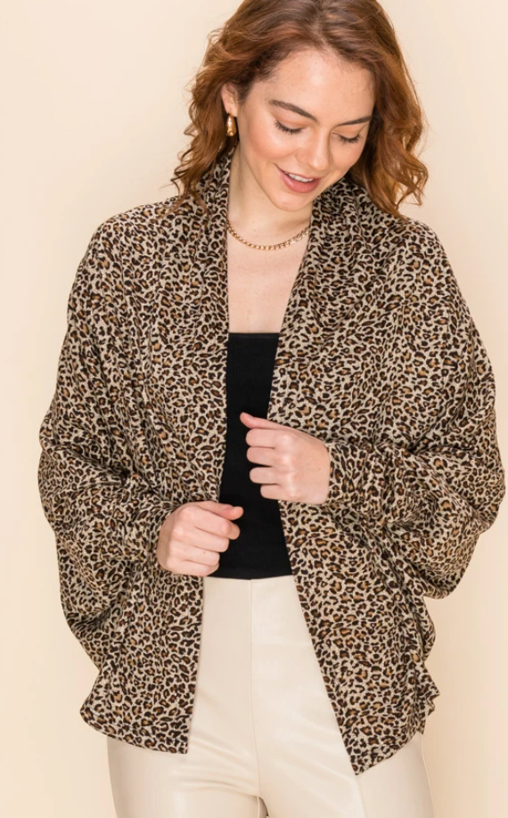 Brown Scoop Animal Print Cardigan