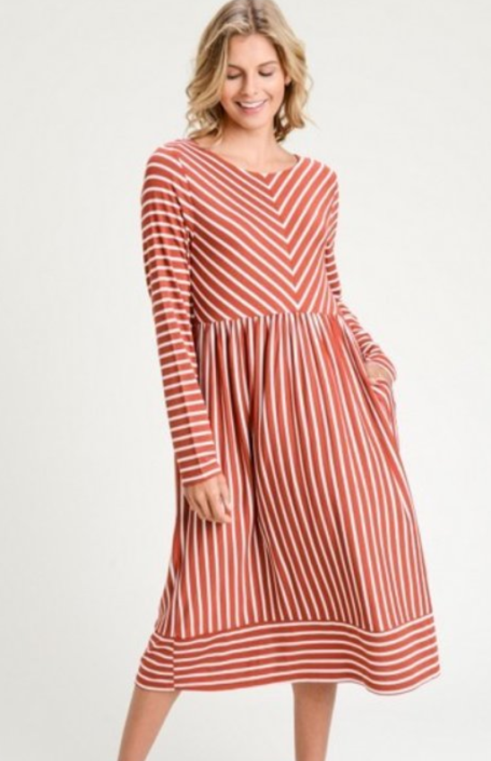Striped Rust Midi Dress
