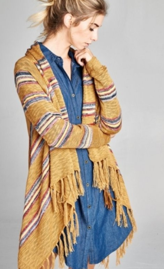 Striped Camel Fringe Cardigan