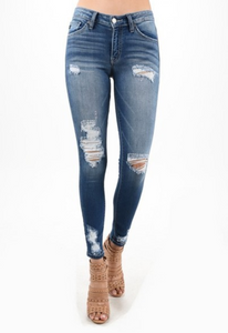 KanCan Gemma Mid Rise Ankle Skinny Jeans