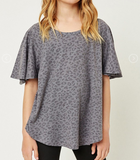 Girls Stone Washed Leopard Tee