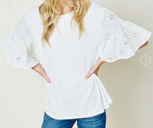 Girls Eyelet Bell Sleeve Tee