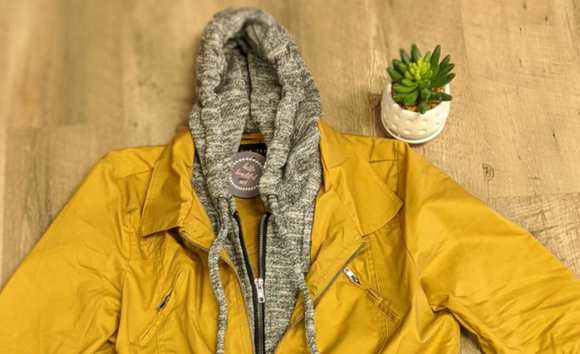 Mustard Fleece Hooded Cinch Jacket