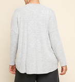 Gray Heathered Knit Top