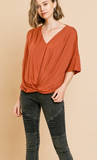 Rust Gathered Bell Sleeve Top