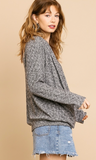 Heathered Ribbed Black Gathered Top