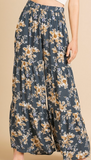 Floral High Waist Ruffle Pants