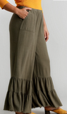 Plus Olive Wide Leg Ruffle Pants with Frayed Hem