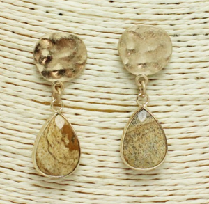 Worn Gold Stone Teardrop Earrings