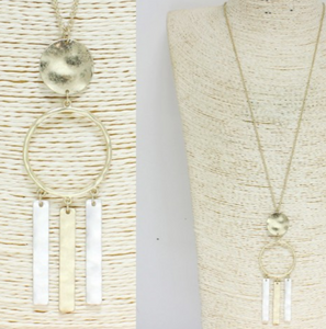 Worn Two Tone Long Pendant Necklace