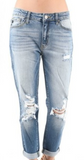 KanCan High Rise Distressed Mom Jean