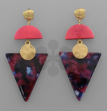 Acrylic Triangle and Wooden Earrings