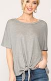 Heather Gray Front Tie Thermal Top