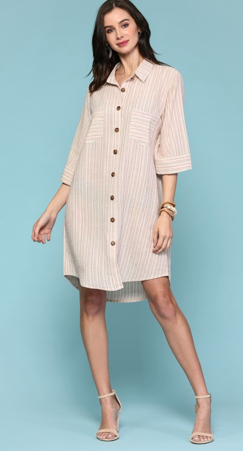 Apple Red Button Down Stripe Shirt Dress