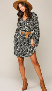 Cream Animal Print Shirt Dress With Balloon Sleeves