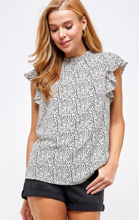 Animal Print Cap Sleeve Top