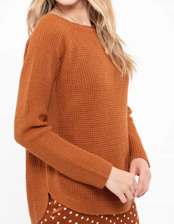 Chestnut Scallop Hem Sweater