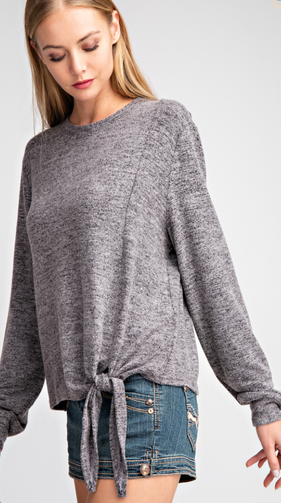 Gray Tie Front Pullover Top
