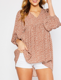 Printed Mauve Empire Waist Puff Sleeve Blouse
